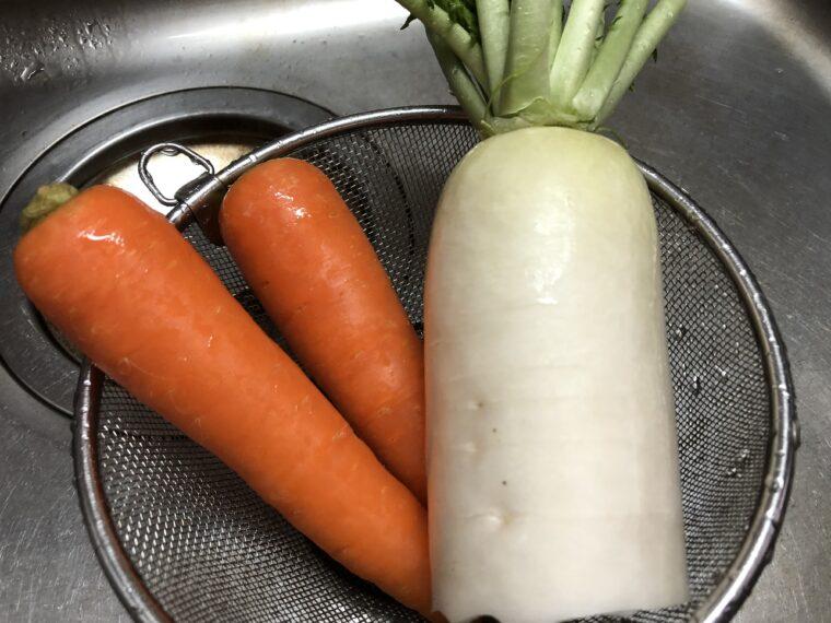 洗い終わった野菜