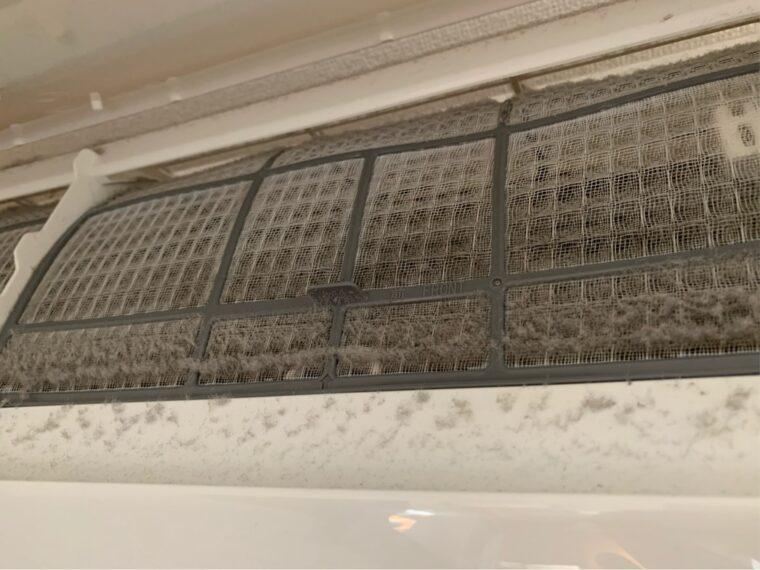 半年放置したエアコンフィルター